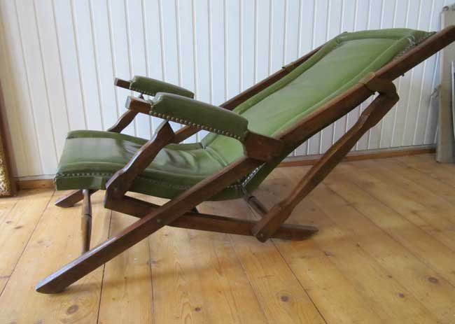 military leather folding lounge chair, 1900 for sale at pamono