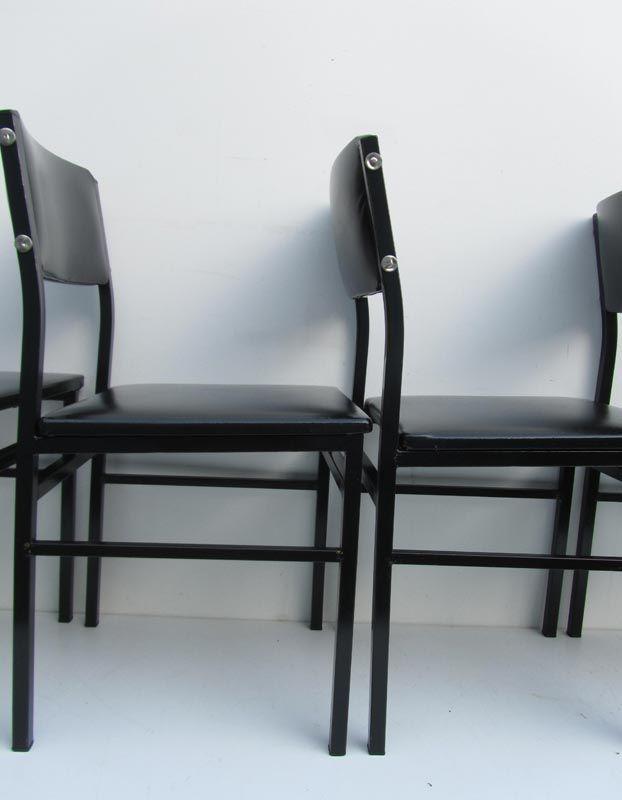 vintage minimalist industrial design chairs 1950s set of