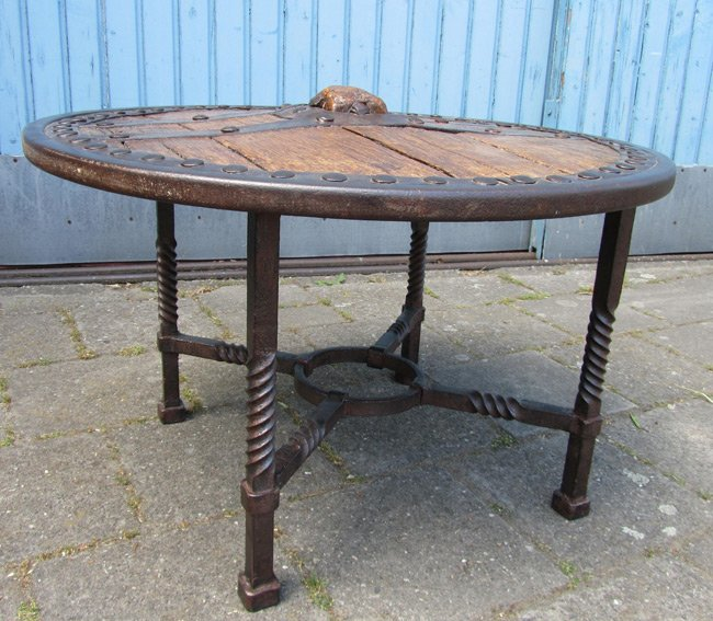 Wooden Wheel Table ~ Antique wooden wagon wheel coffee table for sale at pamono