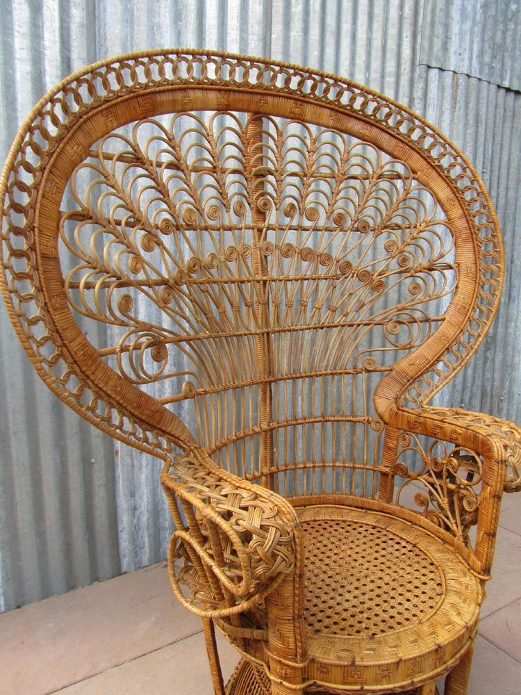Vintage Emmanuelle High Back Rattan Chair, 1970s for sale ...
