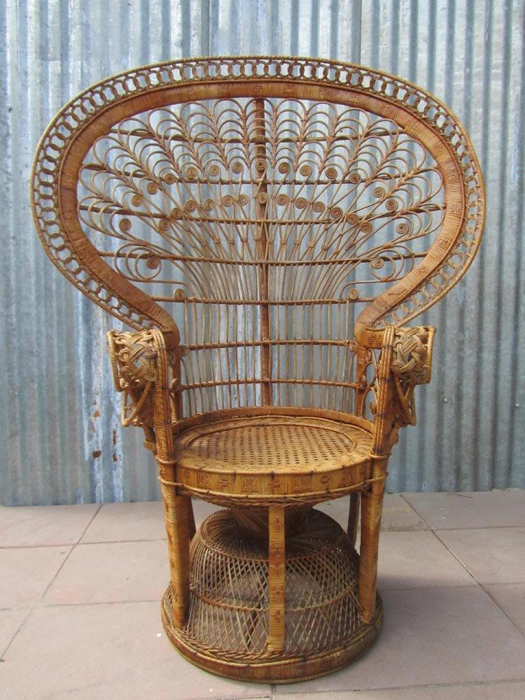 Vintage emmanuelle high back rattan chair 1970s for sale for Chair back design names