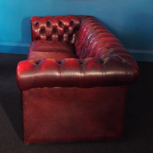 Vintage Oxblood 3 Seater Chesterfield Sofa 1980s For Sale