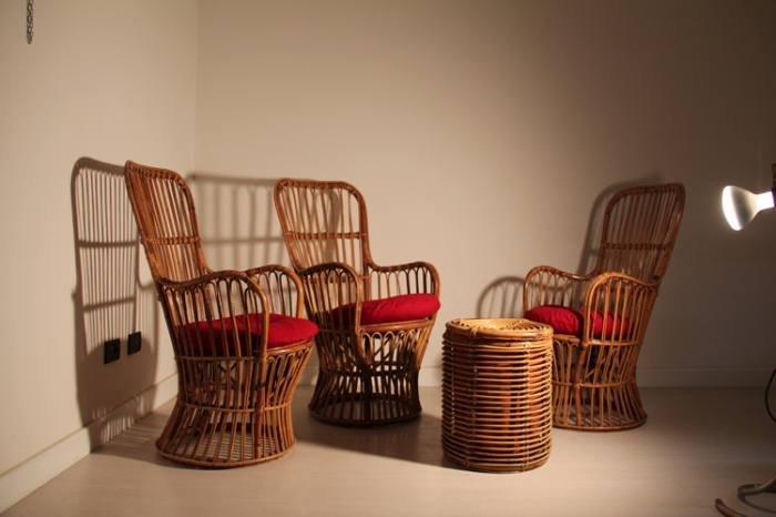 italian bamboo living room set for sale at pamono. Black Bedroom Furniture Sets. Home Design Ideas