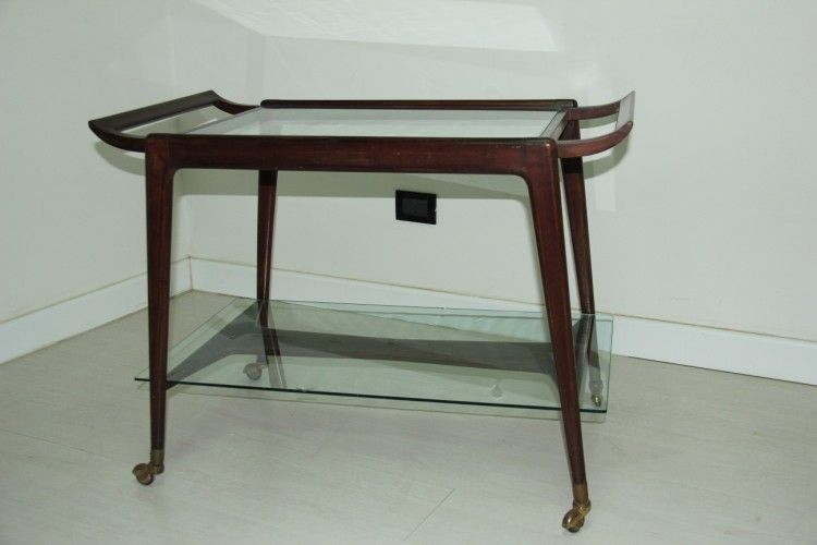 glas bar wagen von cesare lacca 1950er bei pamono kaufen. Black Bedroom Furniture Sets. Home Design Ideas