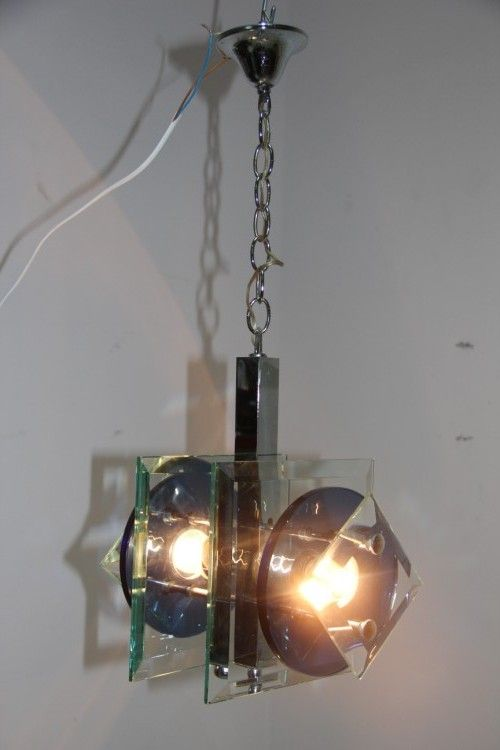 Glass And Metal Pendant Lamp From Veca 1960s For Sale At