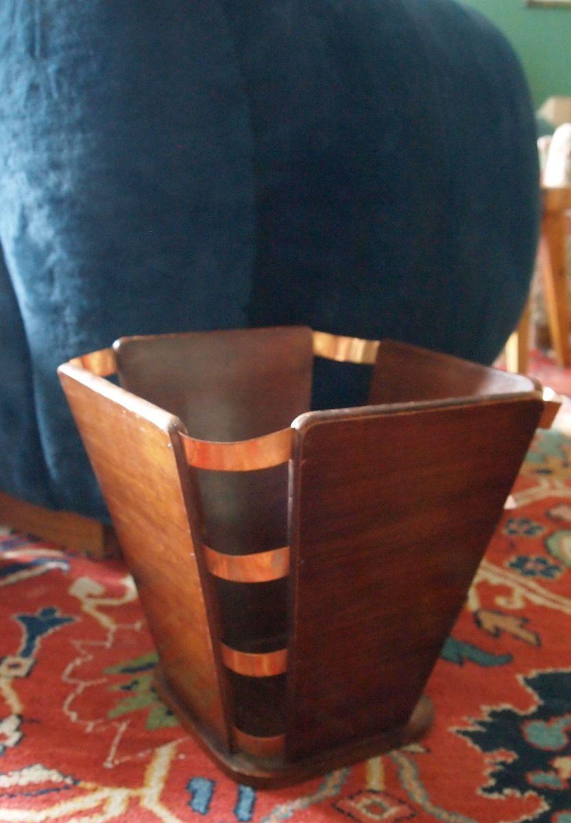 Oak waste paper basket by jacques emile ruhlmann for sale