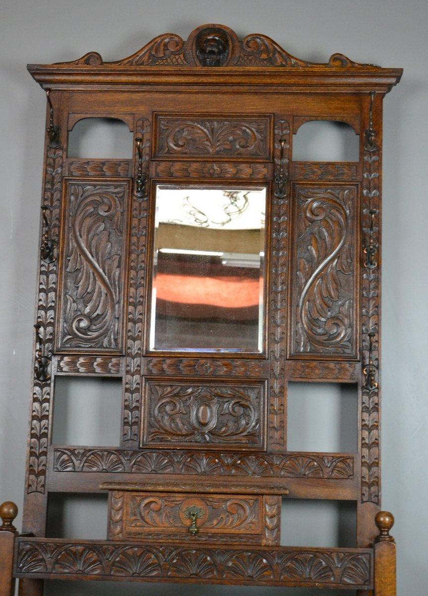 geschnitzte vintage flurgarderobe bei pamono kaufen. Black Bedroom Furniture Sets. Home Design Ideas