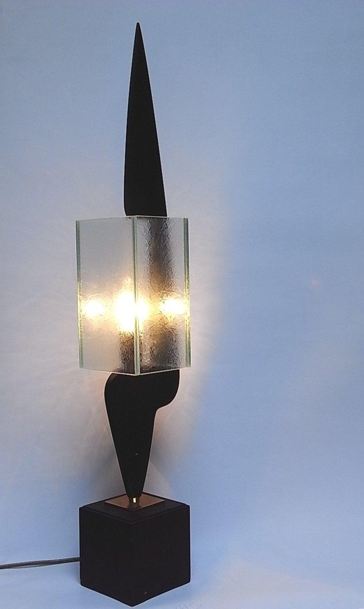 tischlampe aus glas und holz 1950er bei pamono kaufen. Black Bedroom Furniture Sets. Home Design Ideas