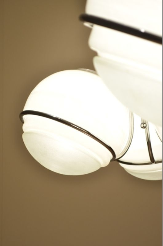 schillernde glaskugel und chrom h ngelampe von mazzega. Black Bedroom Furniture Sets. Home Design Ideas