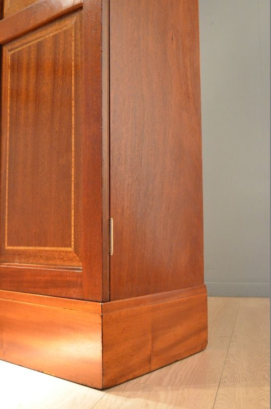 Antique mahogany marqueted wood storage cabinet by