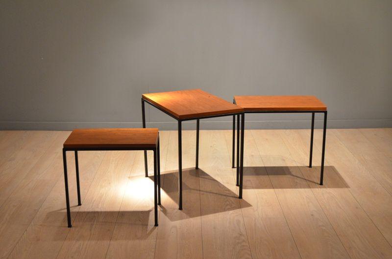 Vintage teak metal nesting tables set of for sale at