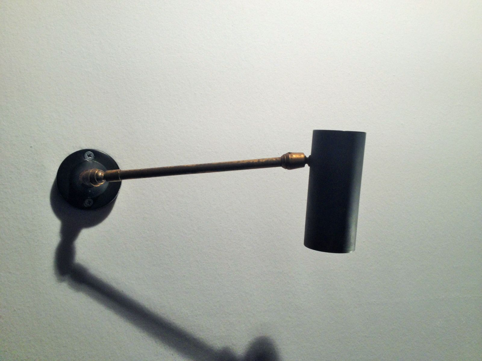 Hinged Brass Wall Lights : Metal and Blackened Brass Hinged Wall Lamp, 1950s for sale at Pamono