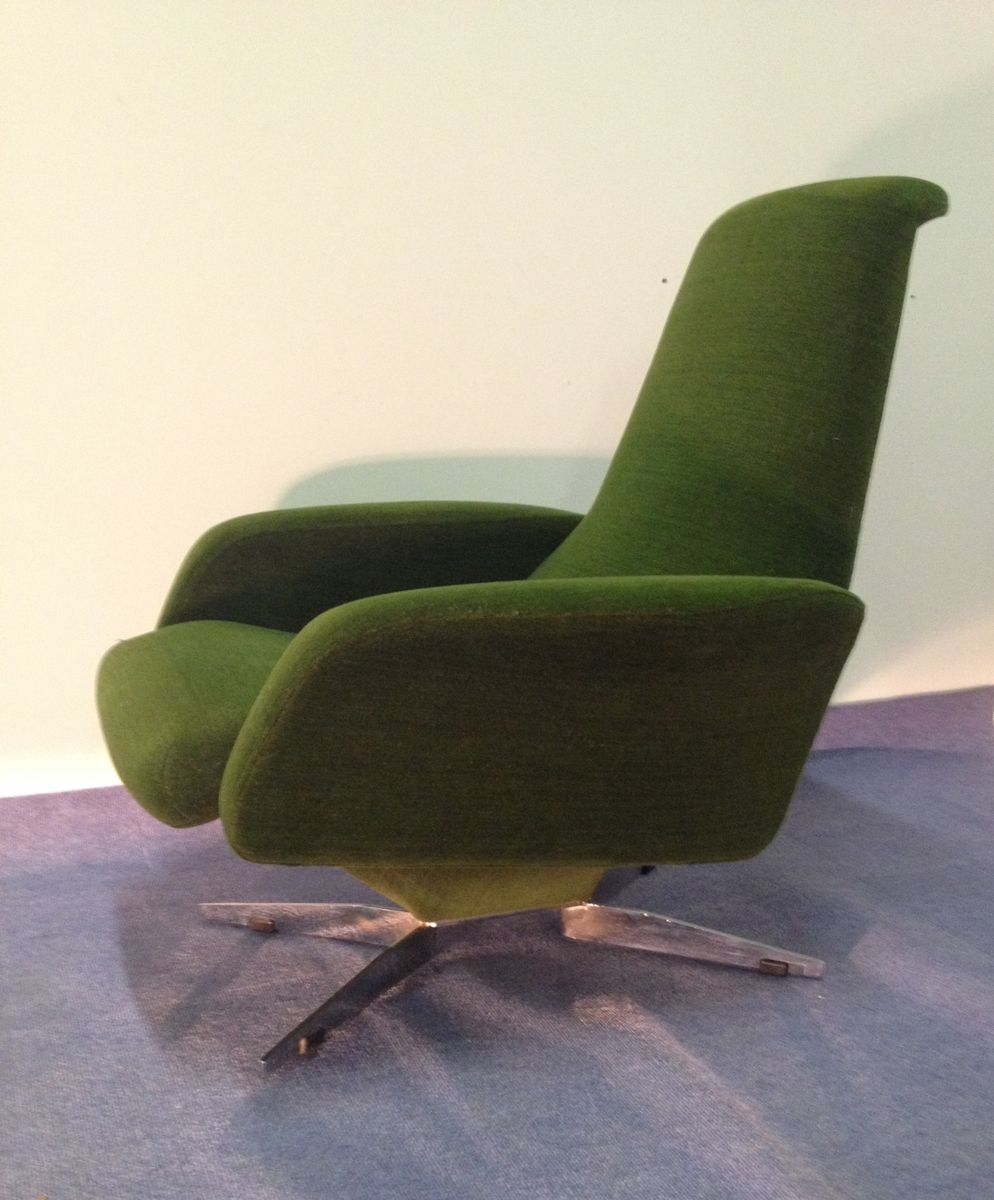 franz sischer gr ner vintage samt sessel bei pamono kaufen. Black Bedroom Furniture Sets. Home Design Ideas