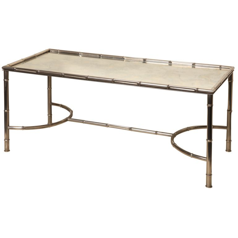 faux bamboo metal coffee table, 1970s for sale at pamono