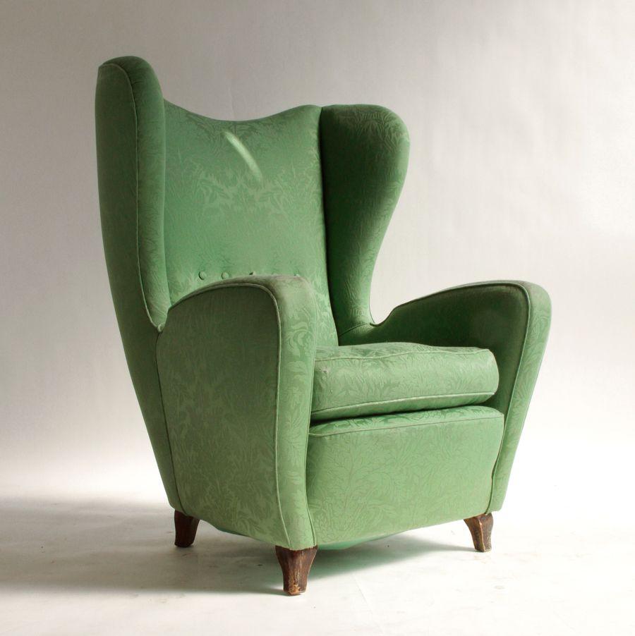 gr ner italienischer sessel 1950er bei pamono kaufen. Black Bedroom Furniture Sets. Home Design Ideas