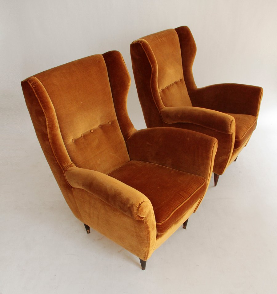 Mid century velvet italian armchairs set of 2 for sale at for 2 armchairs for sale