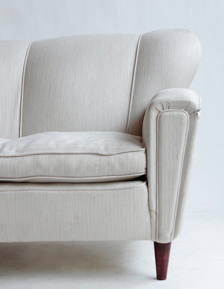 cremefarbenes mid century dreisitzer sofa bei pamono kaufen. Black Bedroom Furniture Sets. Home Design Ideas