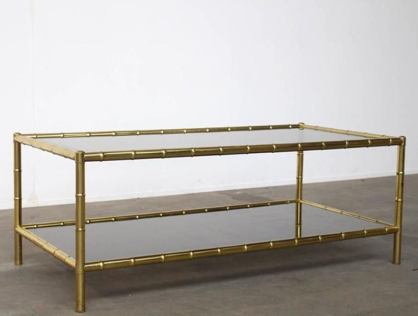 mid-century two-tiered faux bamboo coffee table for sale at pamono
