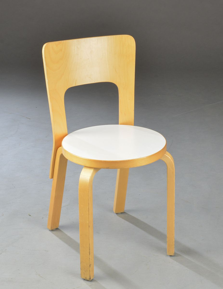 Vintage beech chairs by alvar aalto for artek set of 6 for Alvar aalto chaise