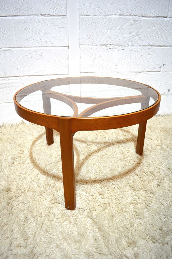 Round glass coffee table with matching nesting tables by for Round glass coffee tables for sale