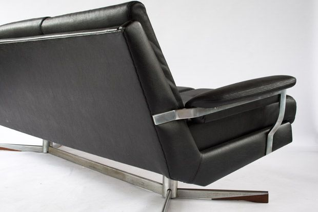 schwarzes vintage 3 sitzer sofa 1950er bei pamono kaufen. Black Bedroom Furniture Sets. Home Design Ideas