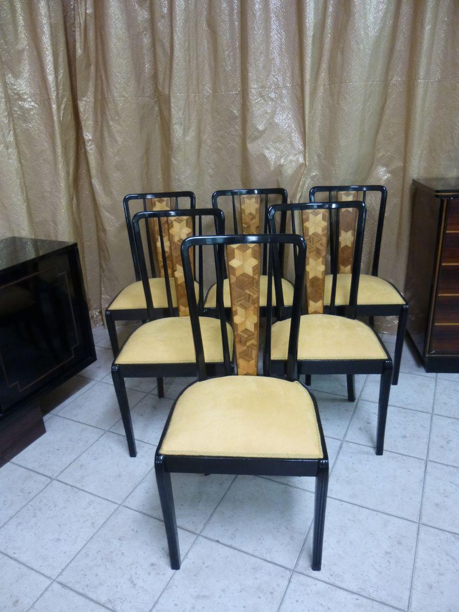 art d co esszimmerst hle 6er set bei pamono kaufen. Black Bedroom Furniture Sets. Home Design Ideas