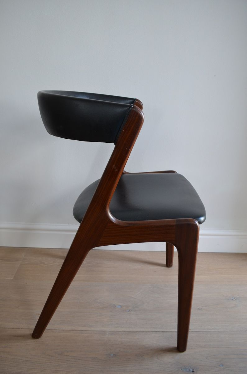 Danish Teak Dining Chairs With Black Leather Upholstery