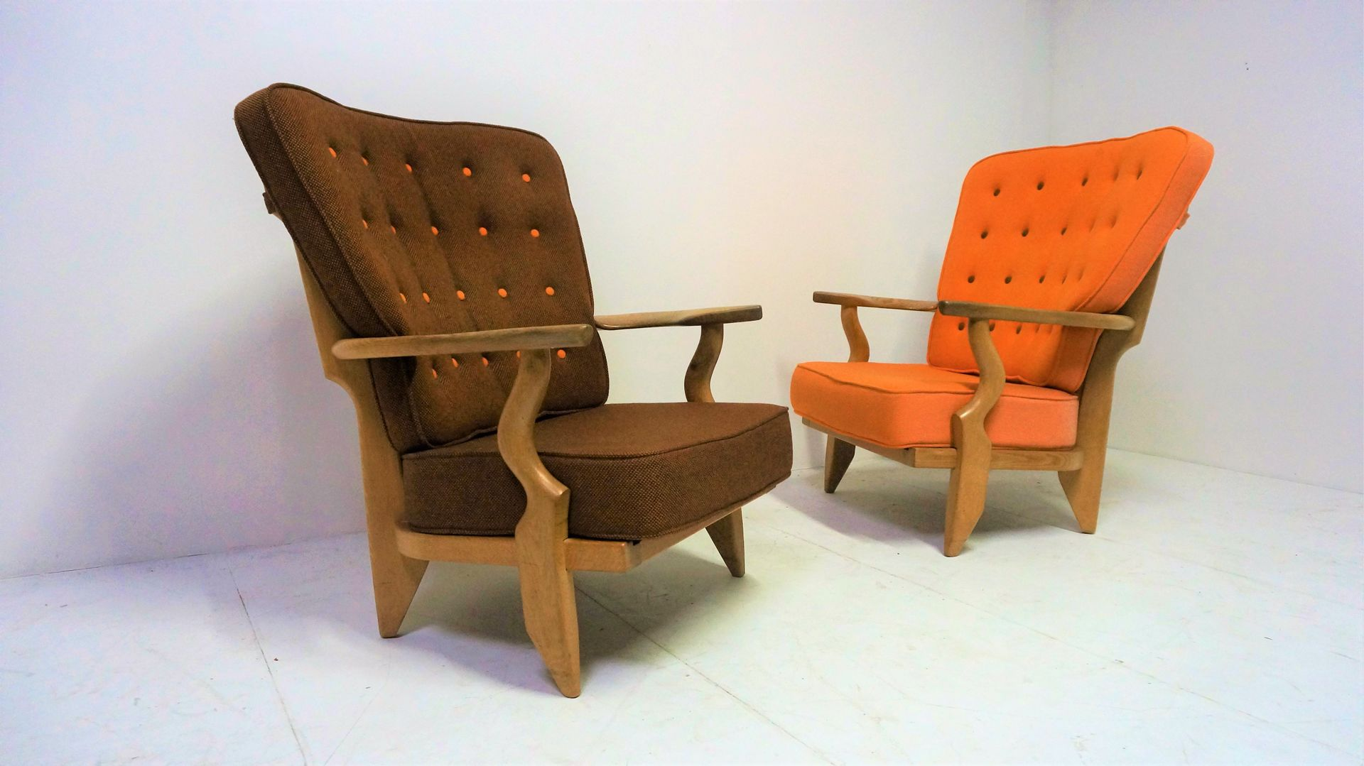 Vintage french lounge chairs by guillerme et chambron for for Vintage parisian lounge
