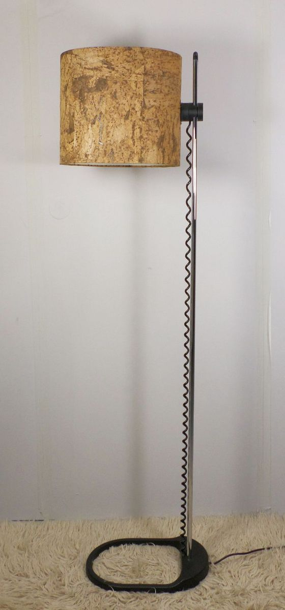 Vintage floor lamp with cork shade from staff 1970s for for Wine cork lampshade
