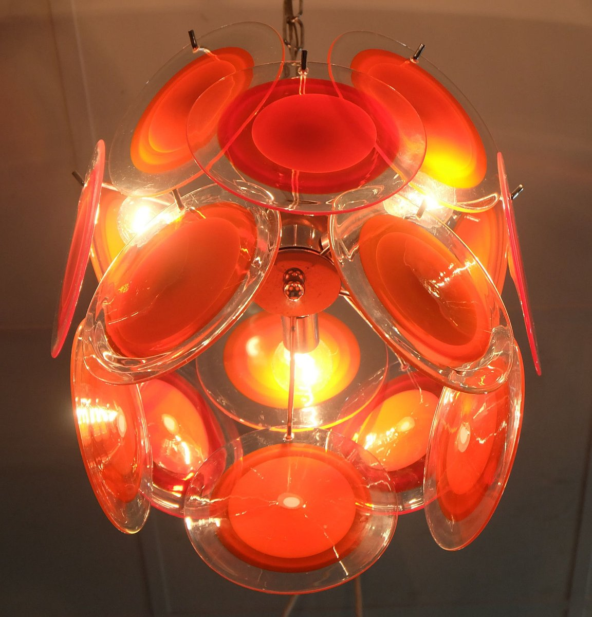 Red Murano Chandelier: Red Murano Glass Chandelier From Vistosi For Sale At Pamono