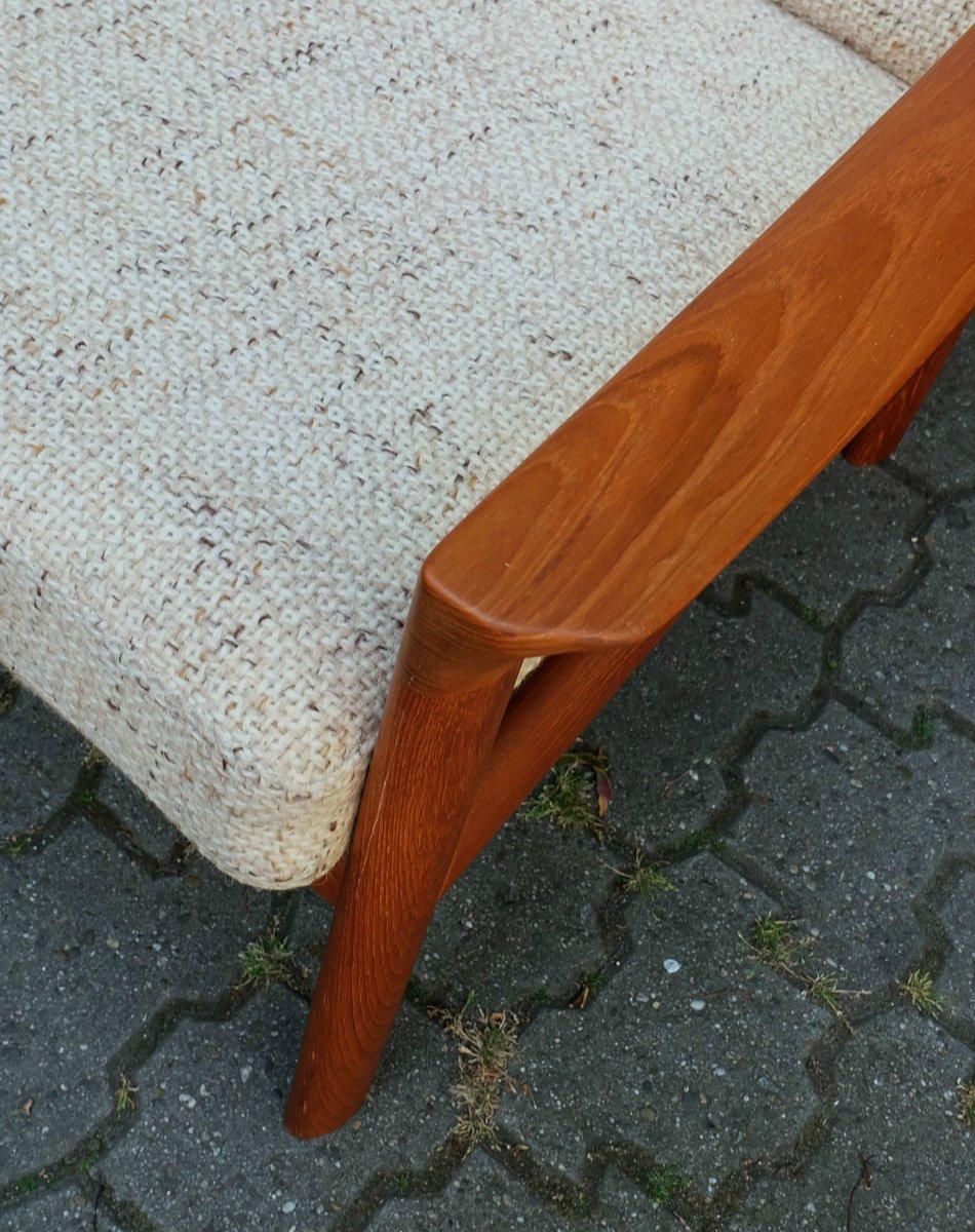 mid century teak sofa mit textilbezug von komfort m bel. Black Bedroom Furniture Sets. Home Design Ideas