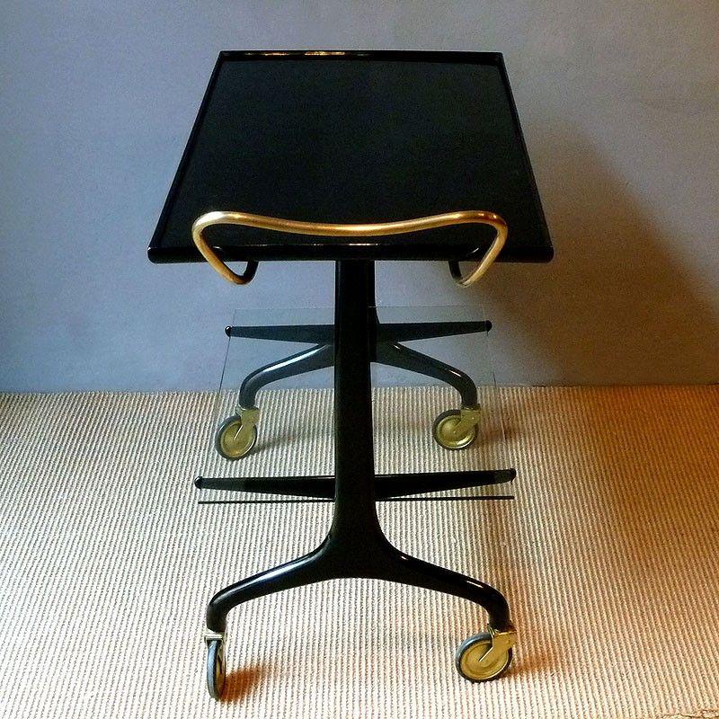 vintage servierwagen in schwarz und gold italien 1950er bei pamono kaufen. Black Bedroom Furniture Sets. Home Design Ideas