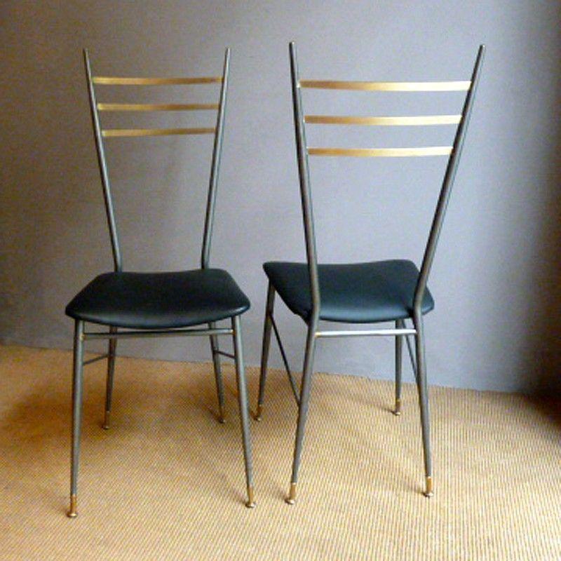 italienische vintage st hle aus metall 1950er 2er set bei pamono kaufen. Black Bedroom Furniture Sets. Home Design Ideas