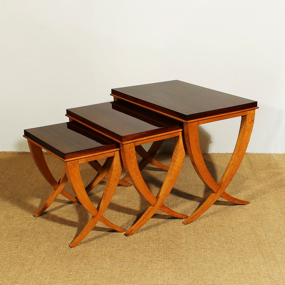 Amazing photo of Beech & Rosewood Nesting Tables by De Coene 1940s Set of 3 for sale  with #AD5317 color and 1200x1200 pixels