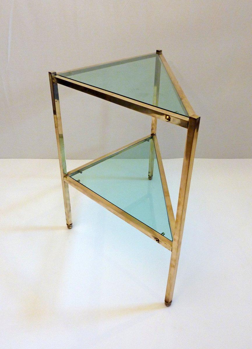 mid century dreiecker messing und glas beistelltisch 1950er bei pamono kaufen. Black Bedroom Furniture Sets. Home Design Ideas