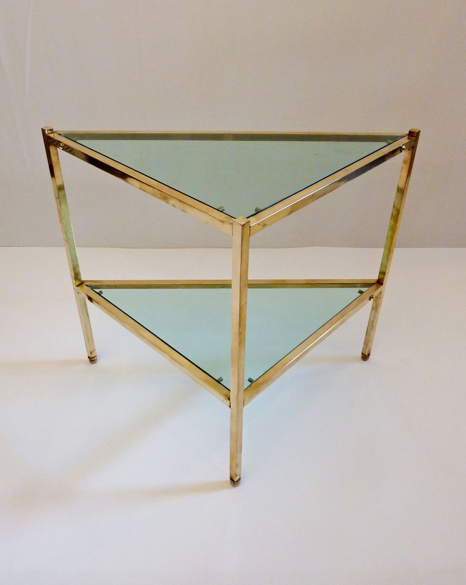mid century brass and glass triangular side table, 1950s for sale