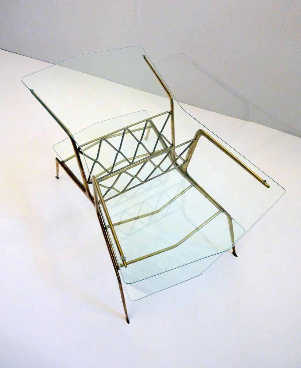 mid century messing und glas beistelltisch 1950er bei pamono kaufen. Black Bedroom Furniture Sets. Home Design Ideas
