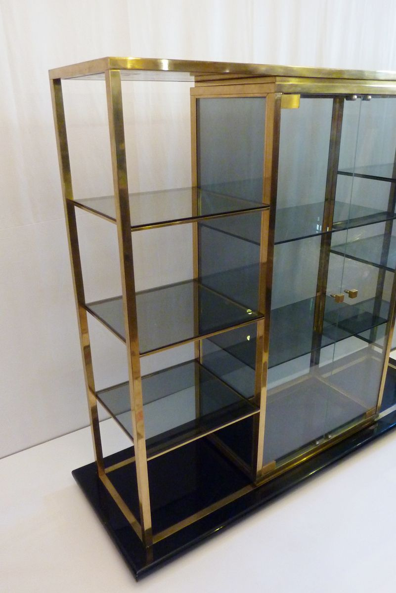 vintage italian shelving unit with vitrine for sale at pamono. Black Bedroom Furniture Sets. Home Design Ideas