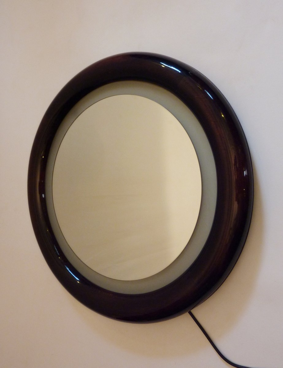 Round Wood Mirror With Back Light For Sale At Pamono