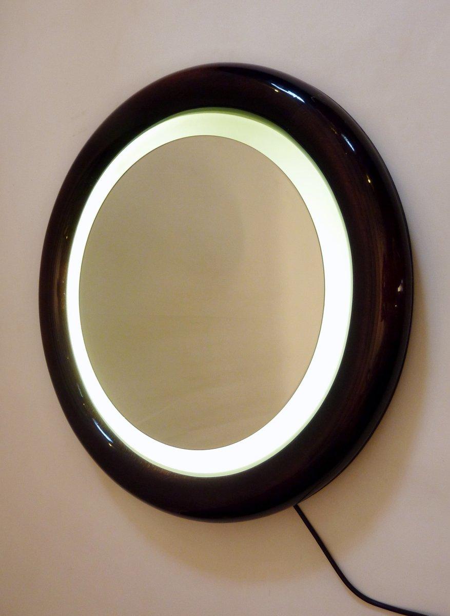 runder h lzerner spiegel mit r ckseitiger beleuchtung bei pamono kaufen. Black Bedroom Furniture Sets. Home Design Ideas