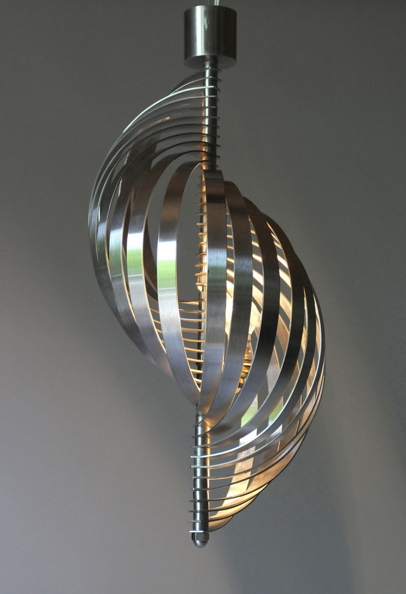 mid century helical pendant light by henri mathieu for. Black Bedroom Furniture Sets. Home Design Ideas
