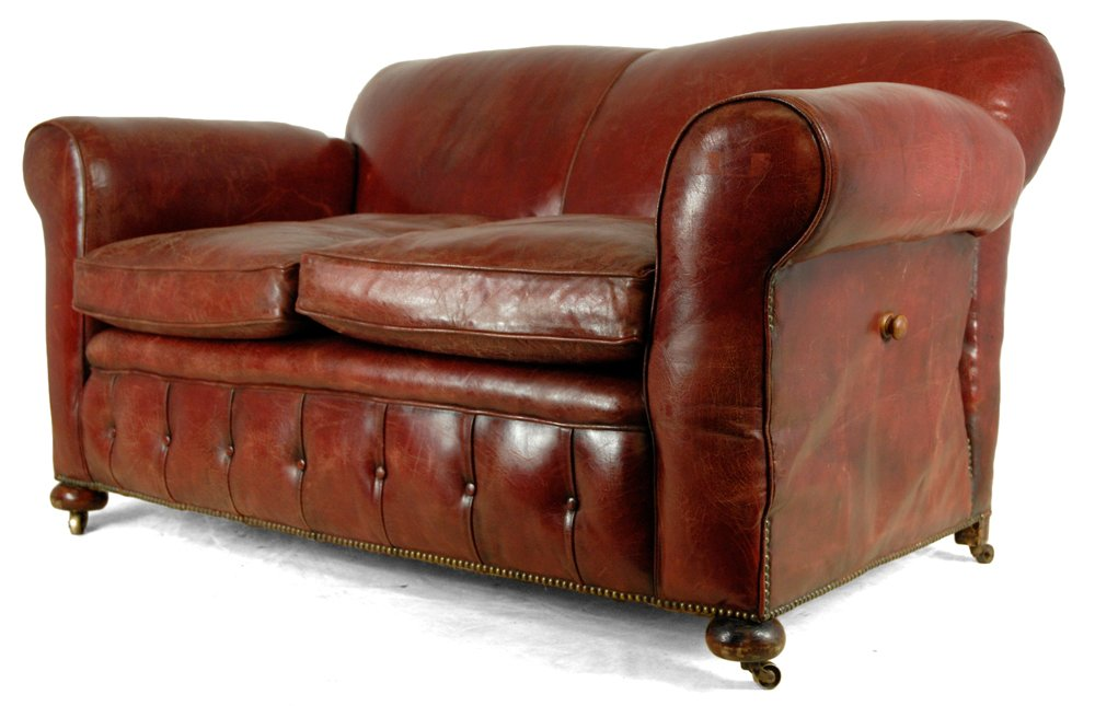 rotes leder club sofa 1930er bei pamono kaufen. Black Bedroom Furniture Sets. Home Design Ideas