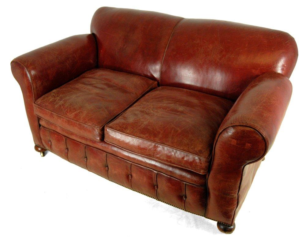 rotes leder club sofa 1930er bei pamono kaufen. Black Bedroom Furniture Sets. Home Design Ideas