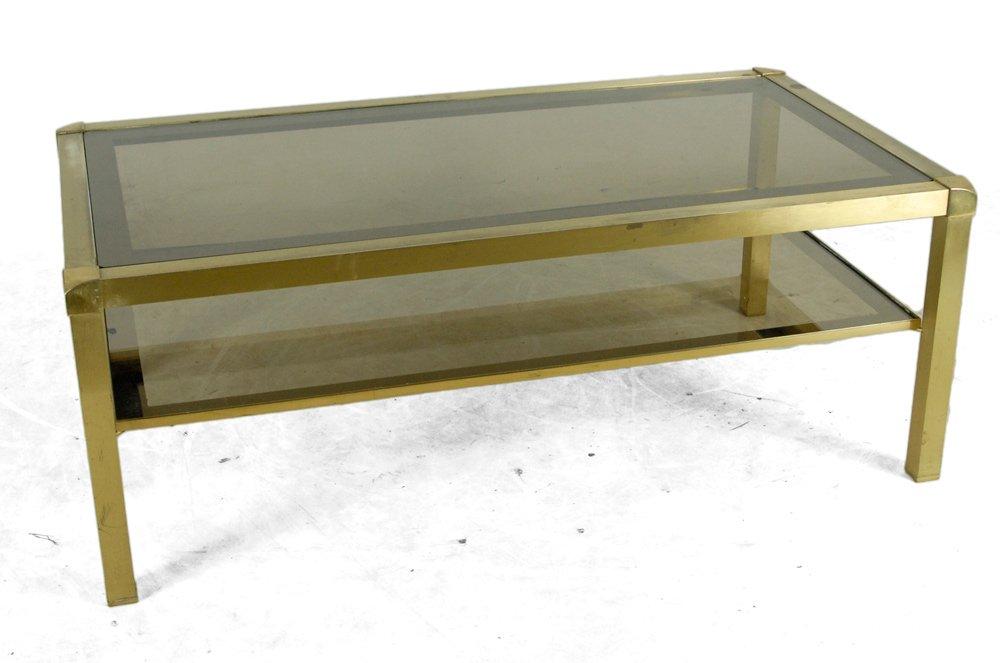 mid century messing und glas couchtisch 1950er bei pamono kaufen. Black Bedroom Furniture Sets. Home Design Ideas