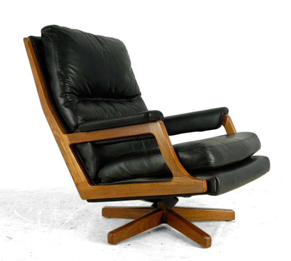 danish teak and leather swivel chair 1960s for sale at pamono