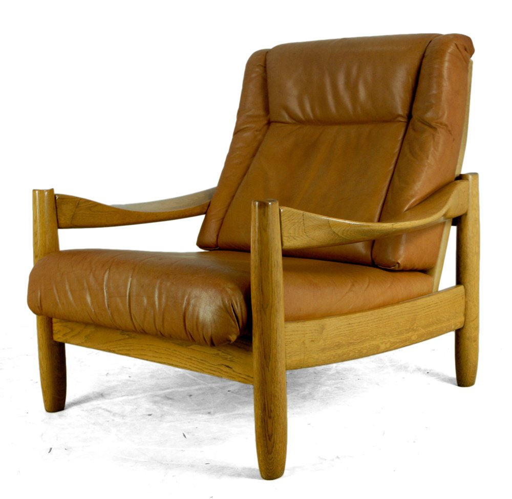 Vintage scandinavian leather and oak armchairs set of 2 for 2 armchairs for sale