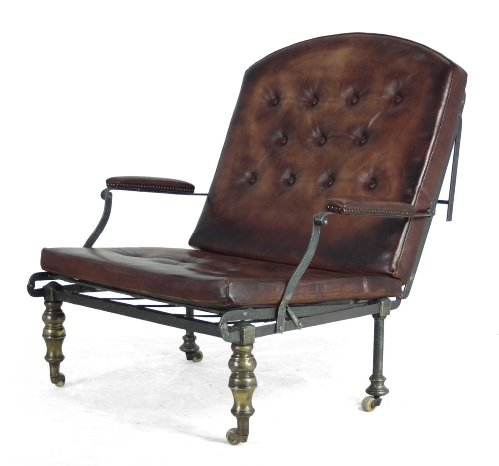 Antique victorian leather chaise lounge for sale at pamono for Antique chaise lounge