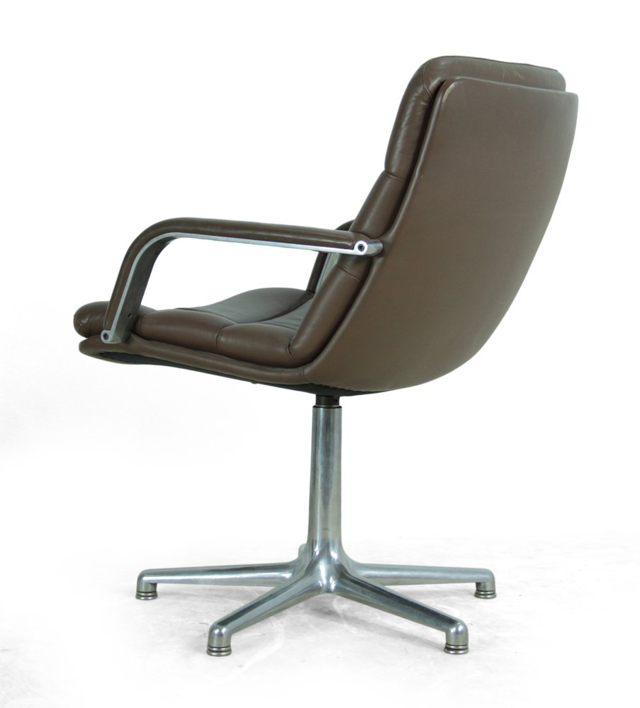 vintage leather aluminium desk chair from artifort for
