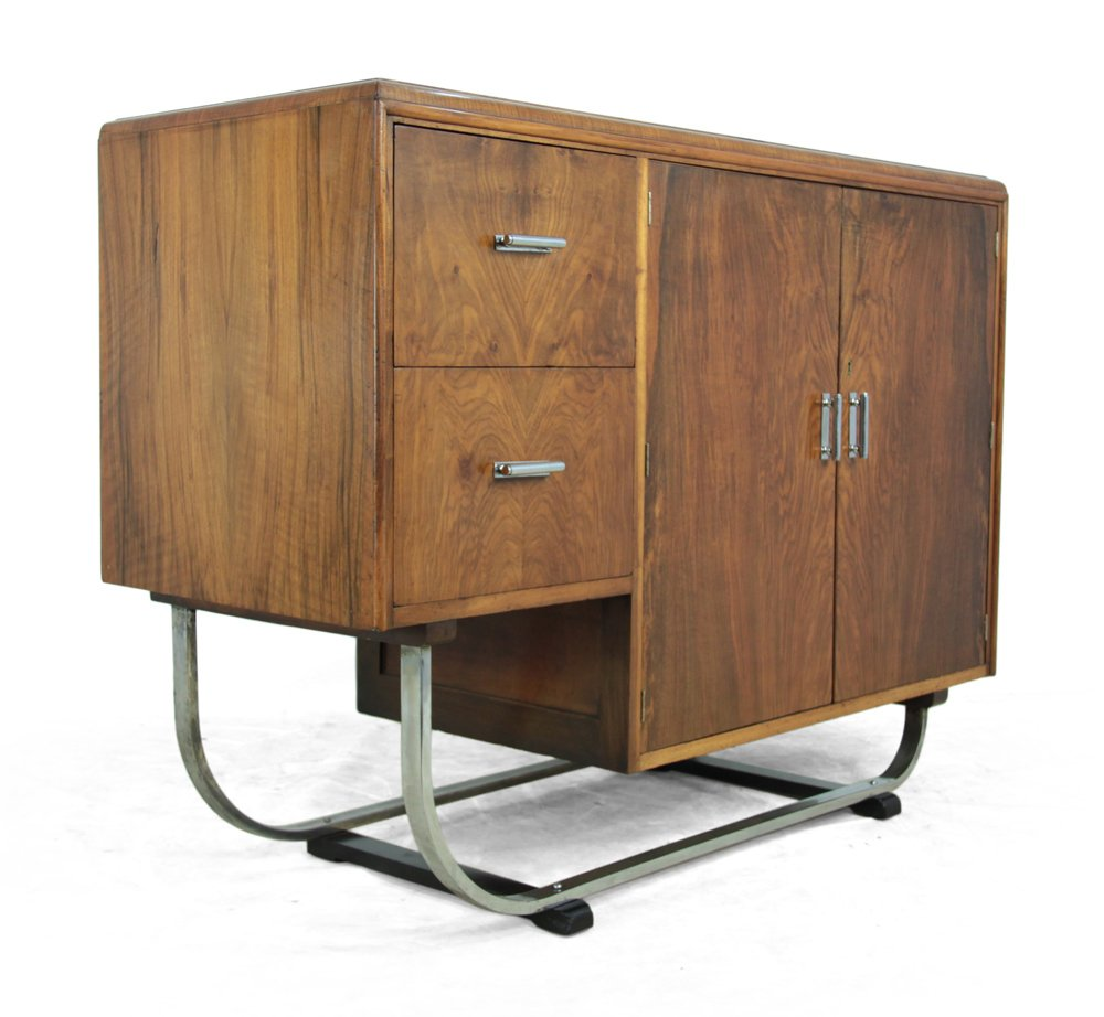 walnut art deco sideboard 1930s for sale at pamono. Black Bedroom Furniture Sets. Home Design Ideas