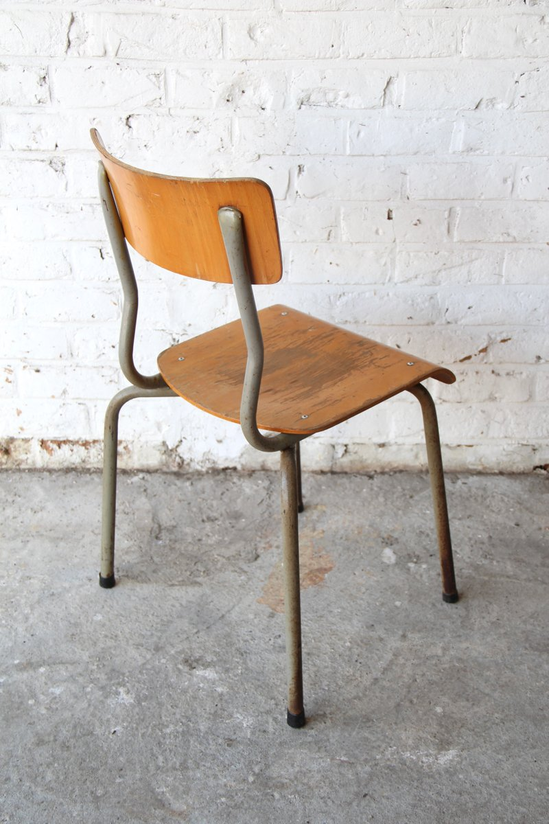 Vintage Wooden School Chair for sale at Pamono